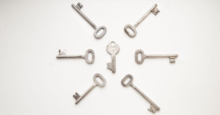 Kep concepts represented by a circle of metal keys