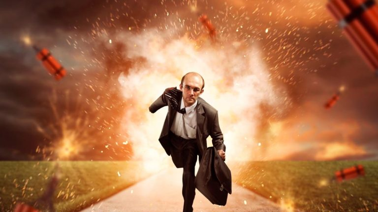 Procurement guide represented by businessperson blasting through dynamite