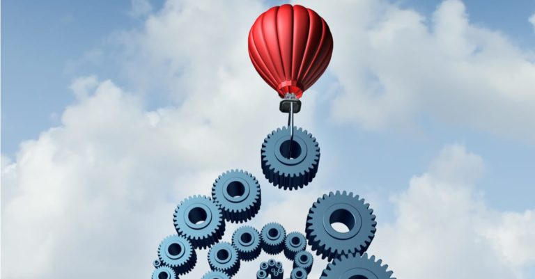 Contract management with Salesforce represented by gears and hot air balloon in the sky