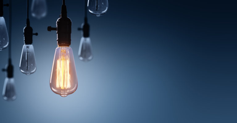 Innovation in procurement represented by lightbulbs
