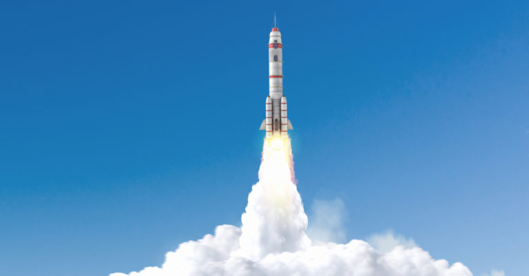 Contract management maturity represented by rocketship taking off