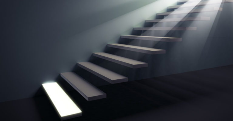 General counsels first steps represented by staircase with the first step highlighted