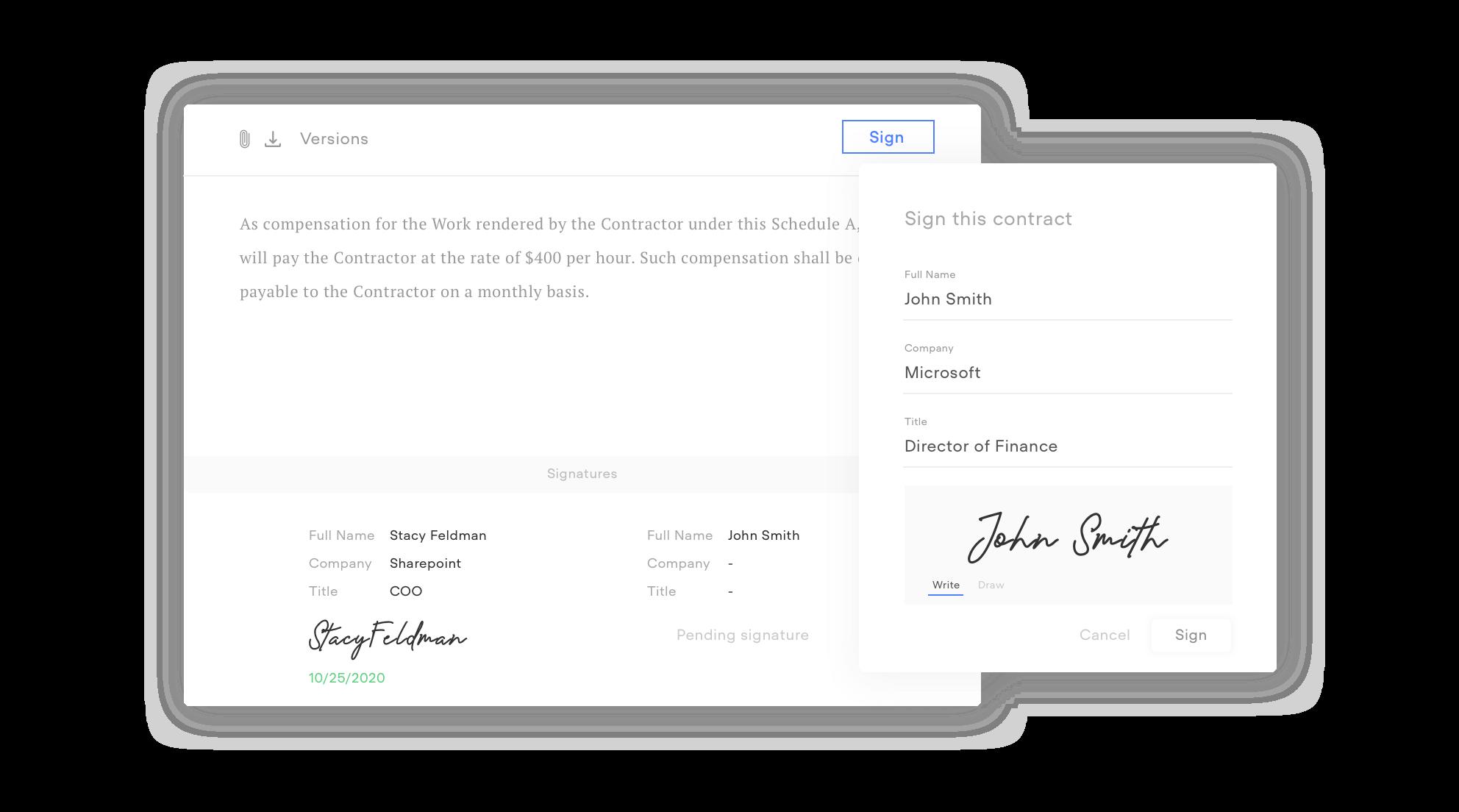 Free e-signature solution example from ConcordNow.com