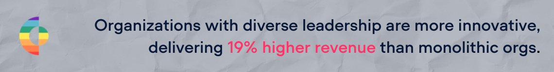 Organizations with diverse leadership deliver an average of 19% more revenue than monolithic workflorces.