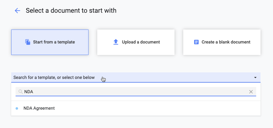Document Builder walks Concord users through options for the type of document they want to create.